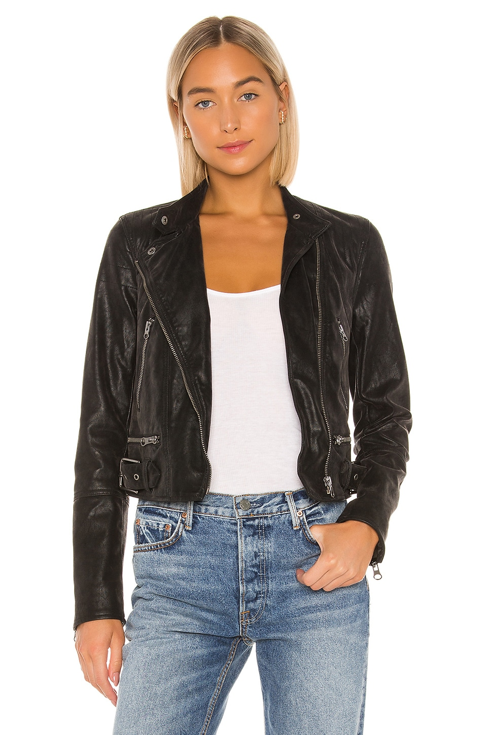 Free People Felix Vegan Moto Jacket in Black