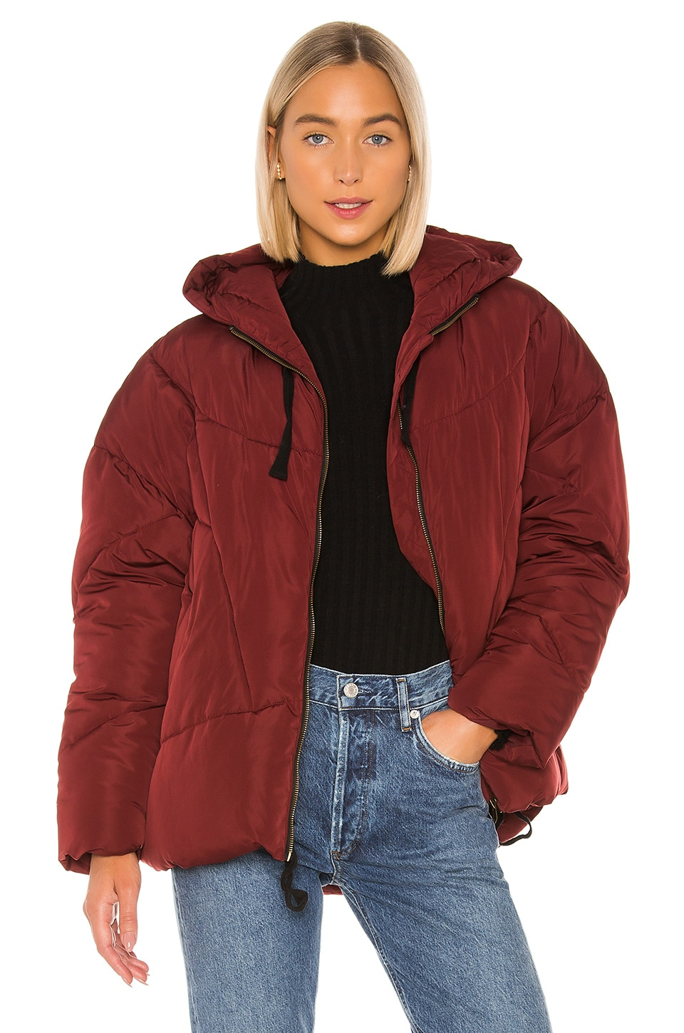 Free People Hailey Puffer in Wine