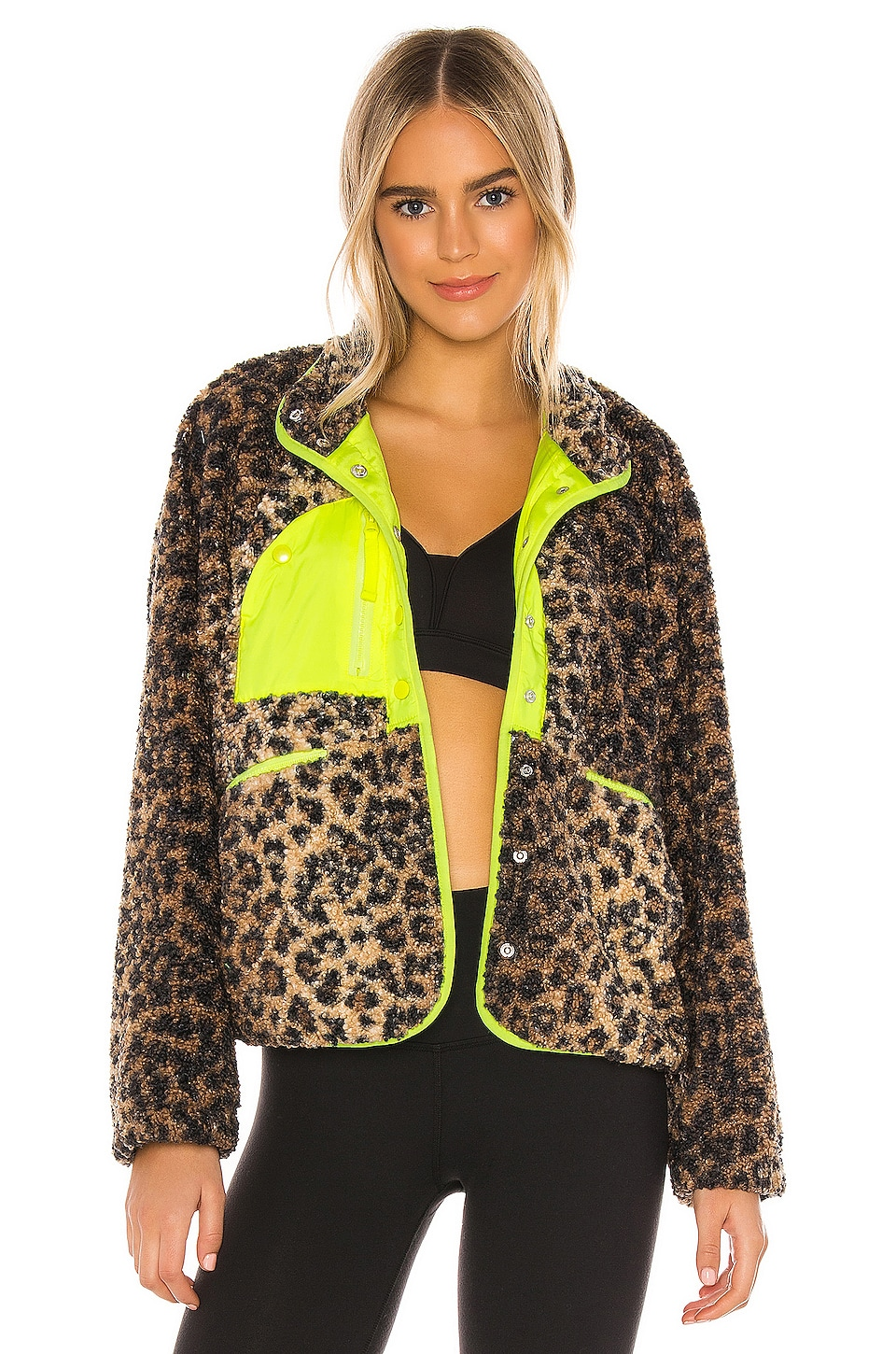 Free People X FP Movement Queen Of The Jungle Jacket in Black Combo