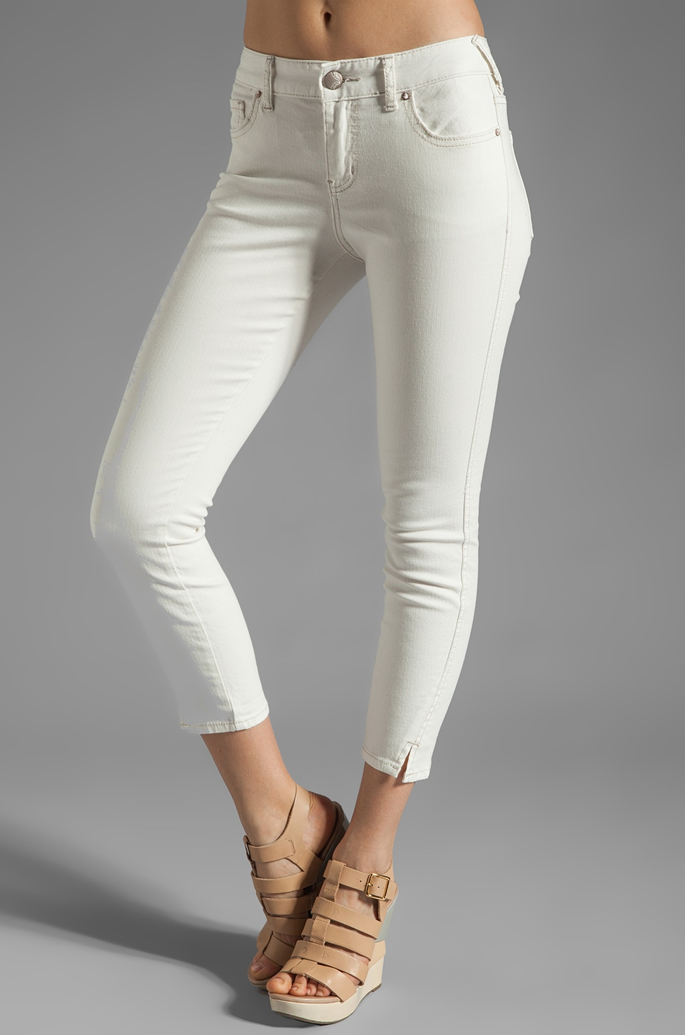 Free People Stretch Herringbone Crop Skinny in White