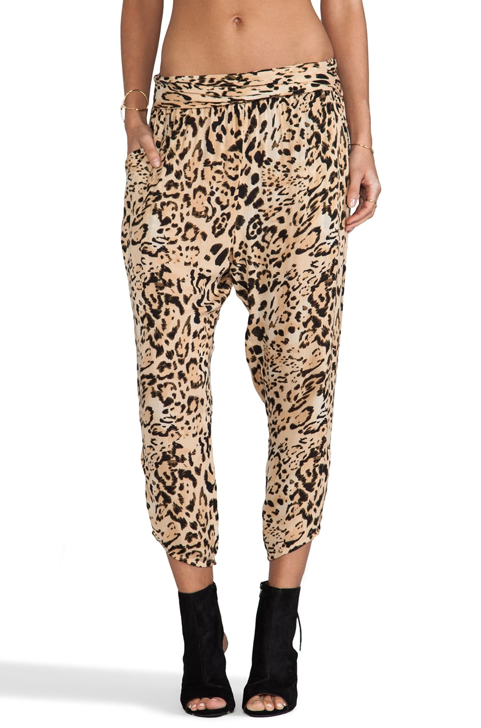 Free People Cheetah Twisted Harem Pant in Natural Combo