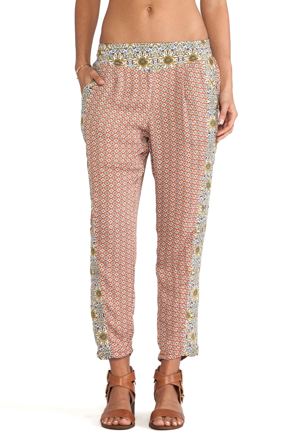 Free People Easy Pleat Pant in Red Geo Ditsy