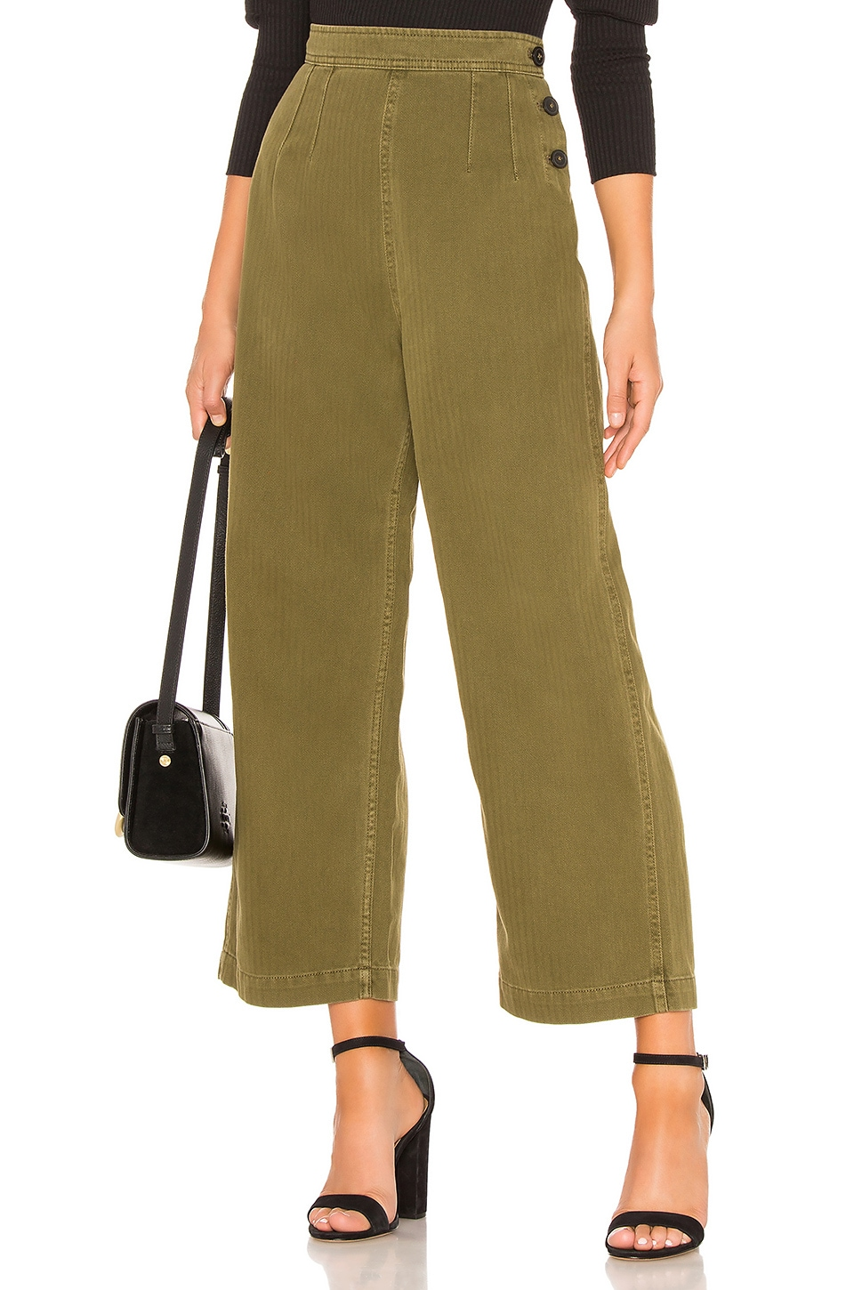 Free People Clean Mod Utility Crop Pant in Moss