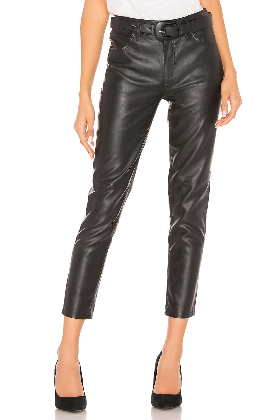 Free People Belted Vegan Leather Skinny Pant in Black