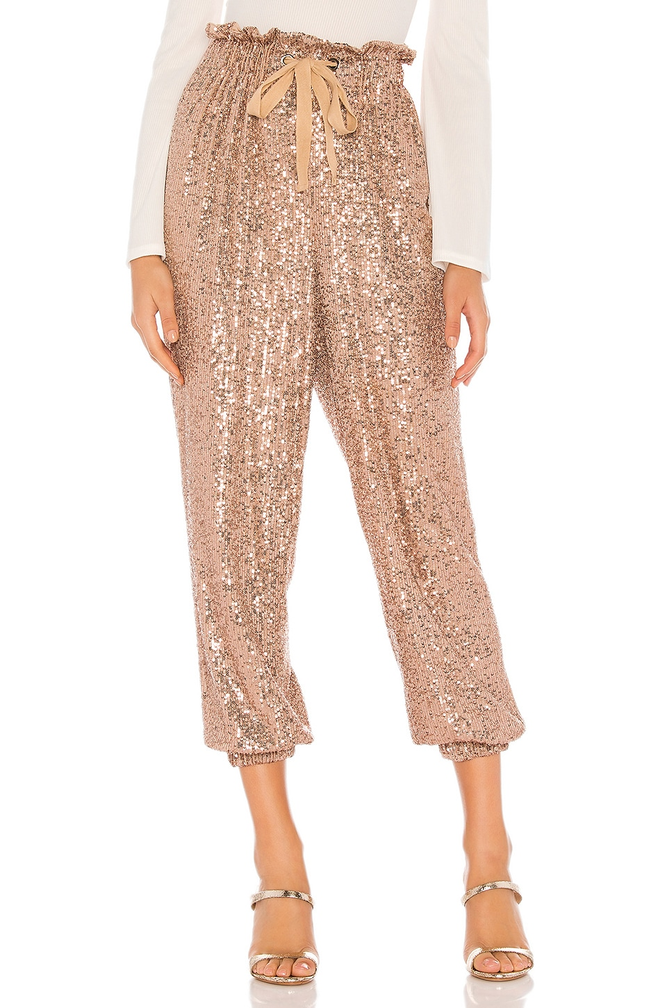 Free People Night Moves Sequin Harem Pants in Rose