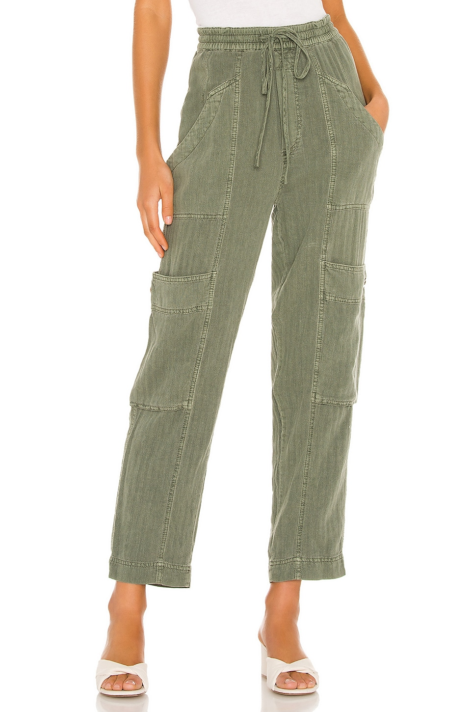 Free People Feelin Good Utility Pull Pant in Moss