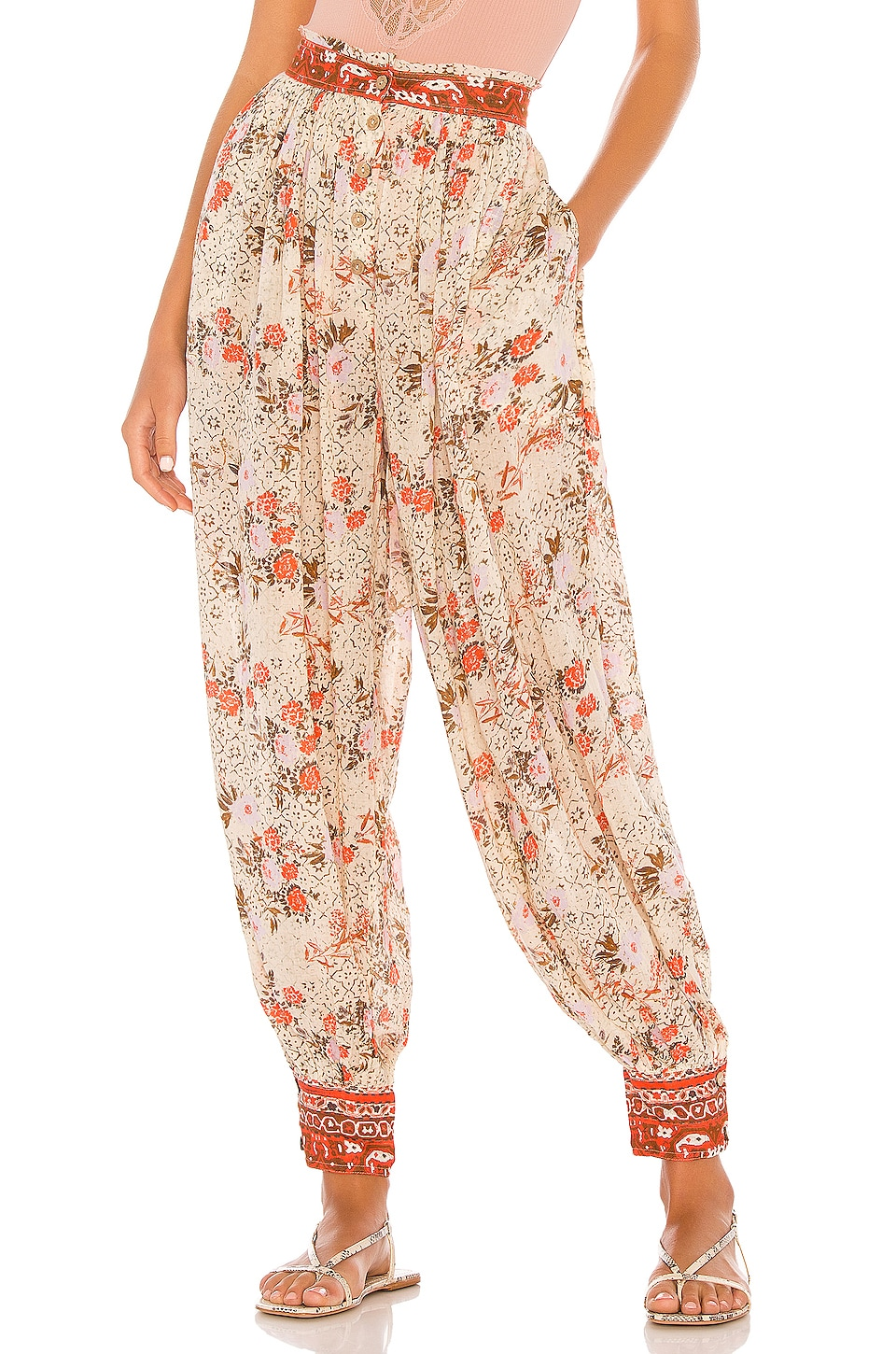 Free People Picnic Partay Pant in Ivory Combo