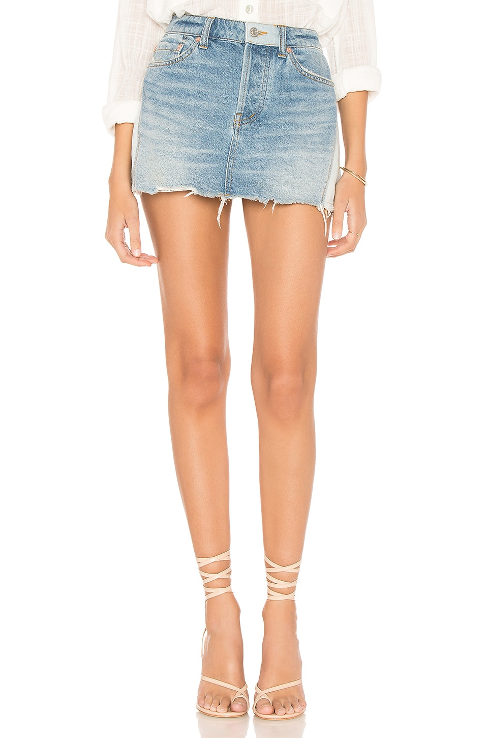 Free People Patched Denim Mini Skirt in Blue