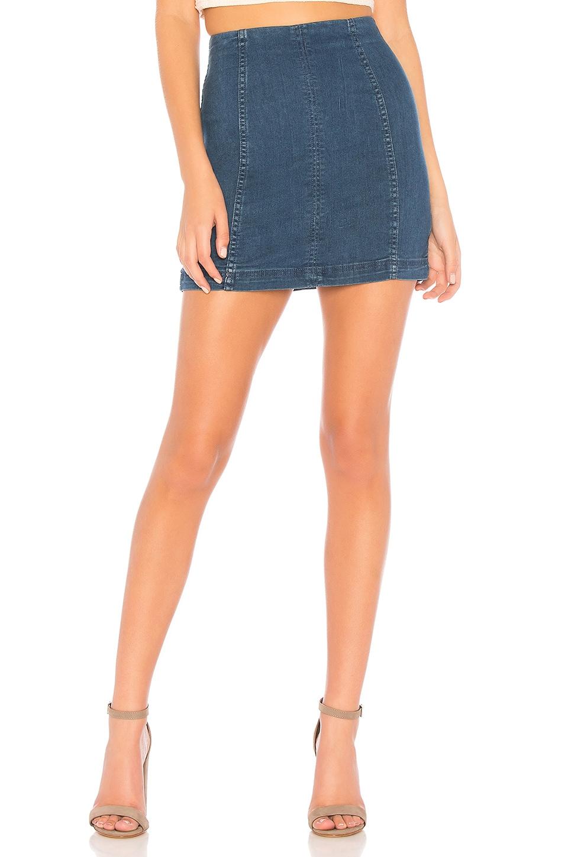 Free People Denim Modern Femme Skirt in Dark Denim
