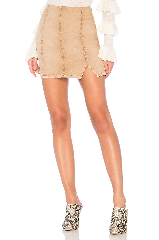 Free People Femme Fatal Pull On Skirt in Khaki