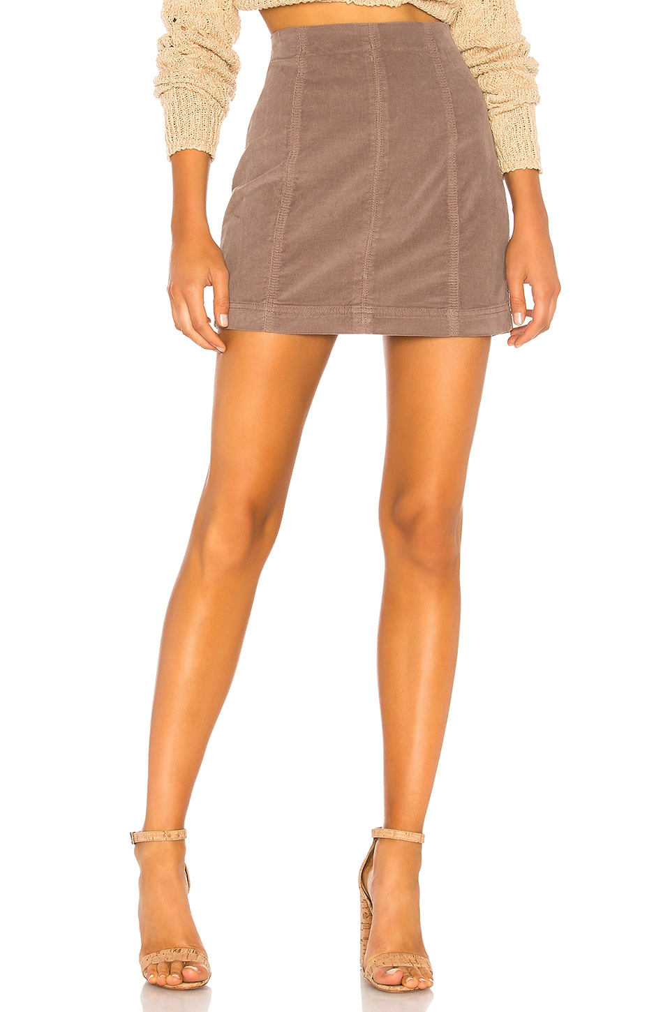 Free People Modern Femme Cord Mini Skirt in Neutral