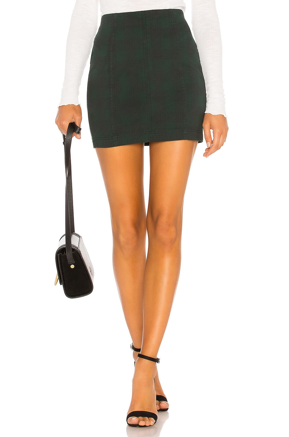 Free People Modern Femme Mini Skirt in Dark Green