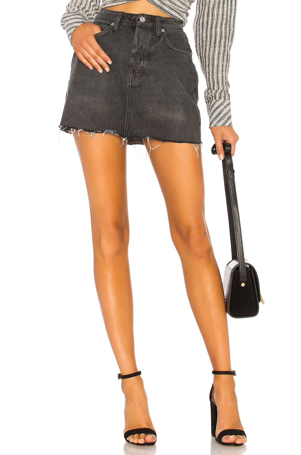 Free People Rugged A-Line Skirt in Black