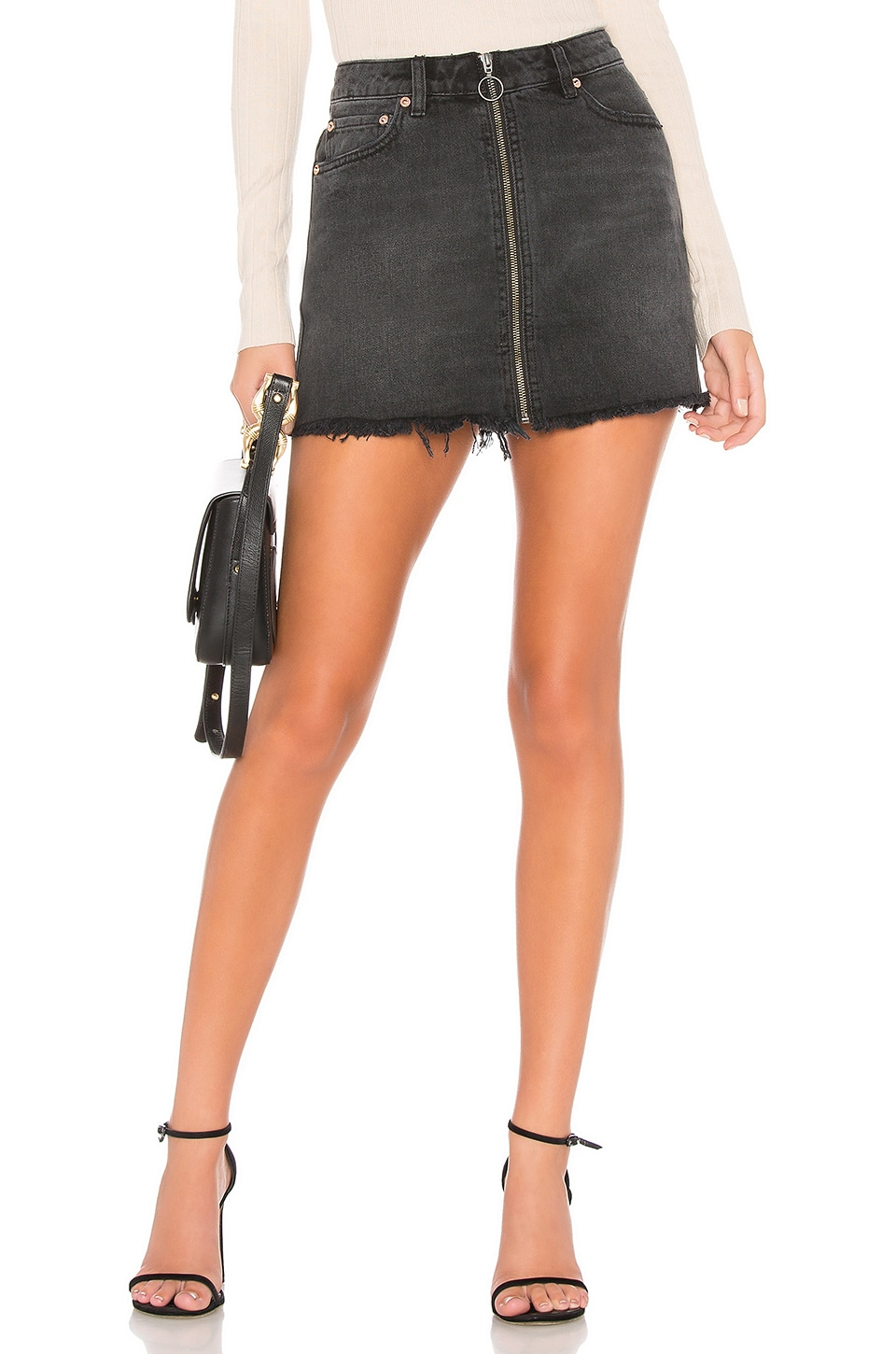 Free People Zip It Up Mini Skirt in Black