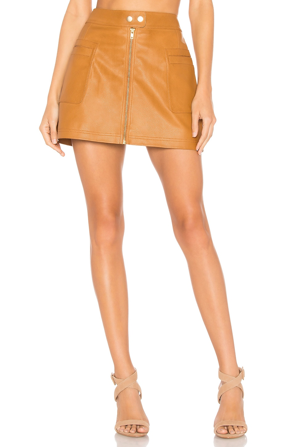Free People High A Line Vegan Leather Skirt in Copper
