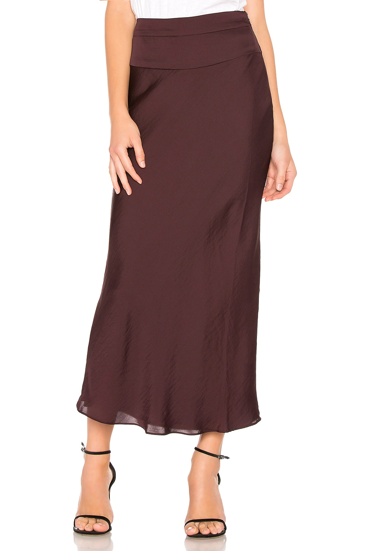 Free People Normani Bias Skirt in Wine
