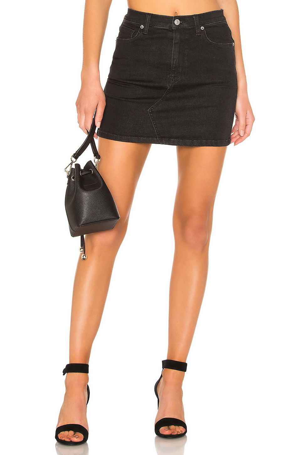 Free People Teagan Denim Skirt in Black