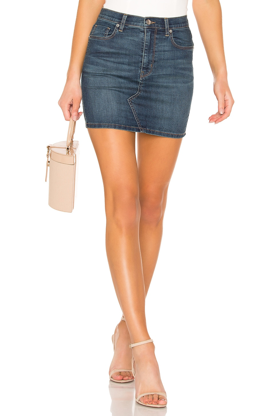Free People Teagan Denim Skirt in Dark Denim