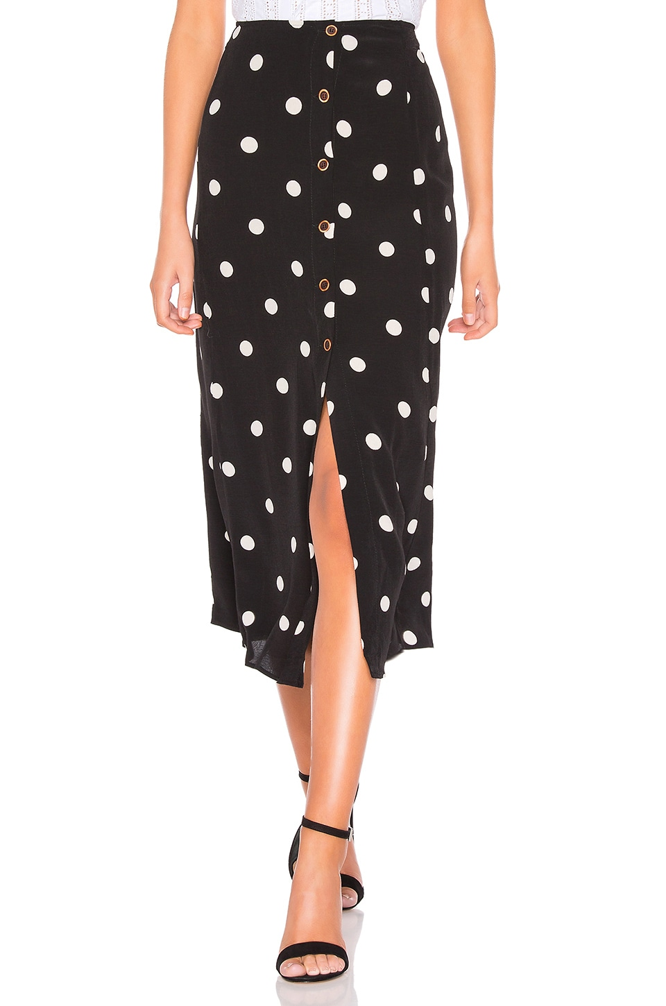 Free People Retro Love Midi Skirt in Black & White Combo