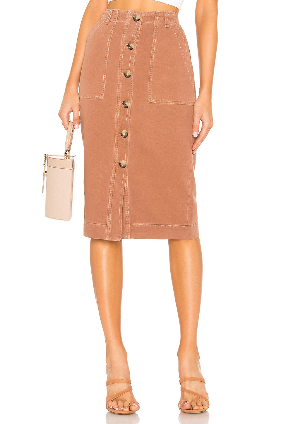 Free People Mid Length Utility Skirt in Brown