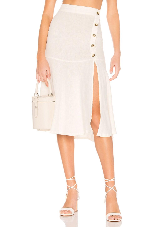 Free People Poppy Flounced Midi Skirt in White