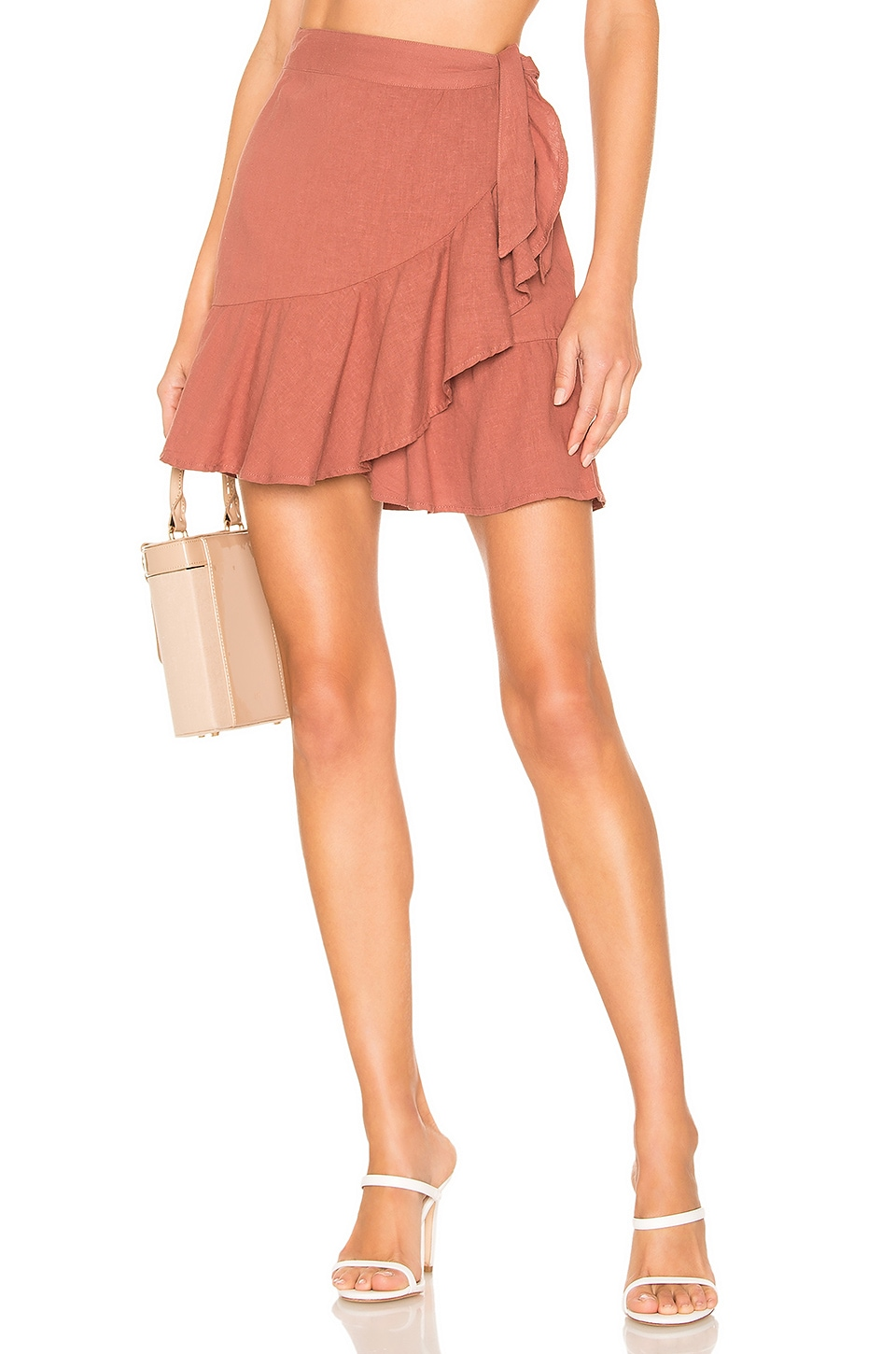 Free People Ruffle My Feathers Mini Skirt in Rose