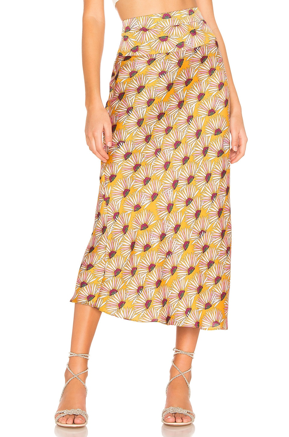 Free People Normani Printed Bias Skirt in Honey