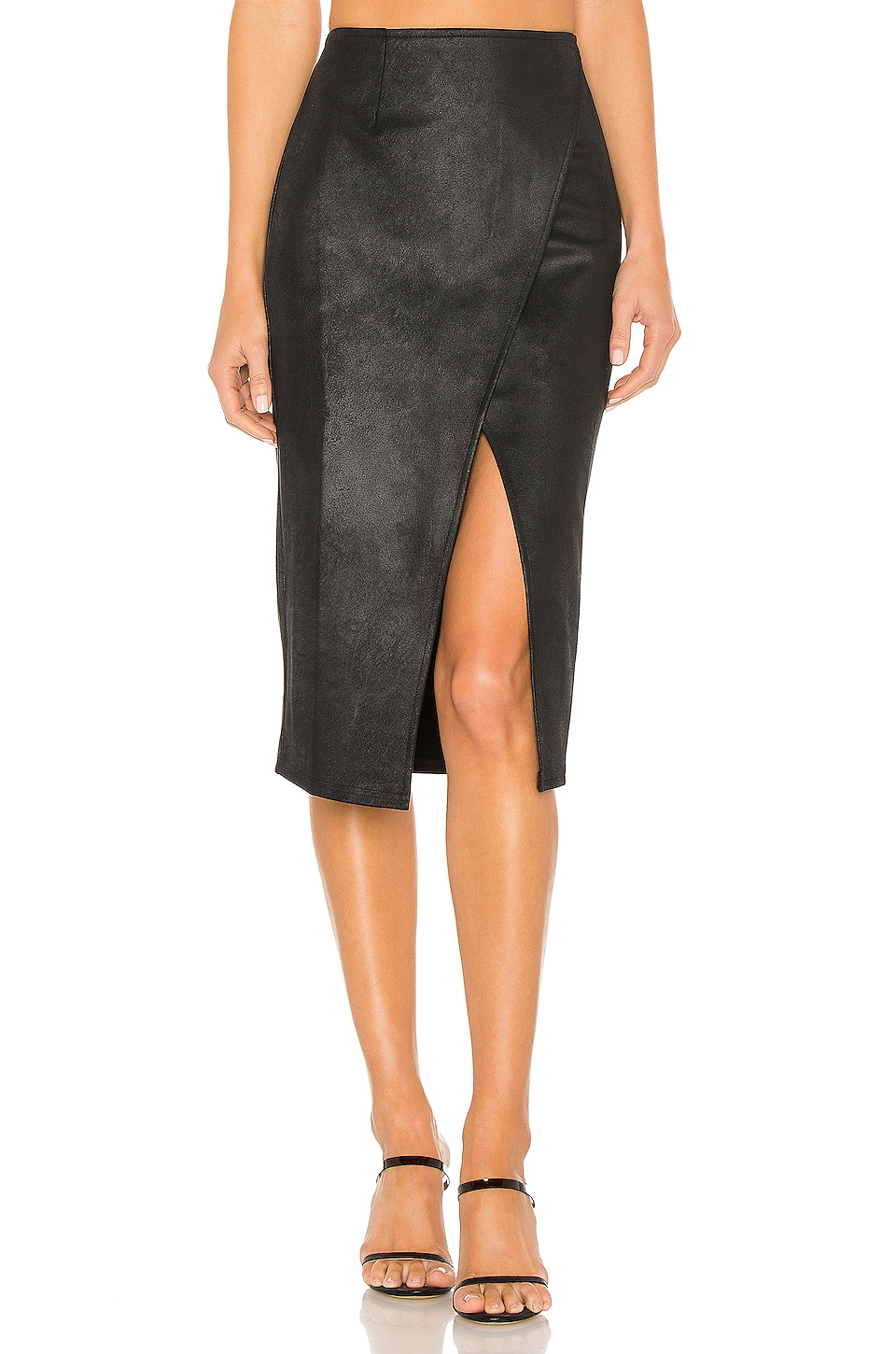 Free People Whitney Vegan Leather Pencil Skirt in Black