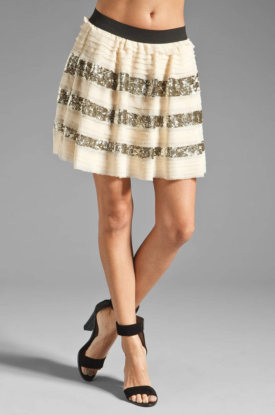 Free People Sparkle and Stripe Skirt in Champagne Combo