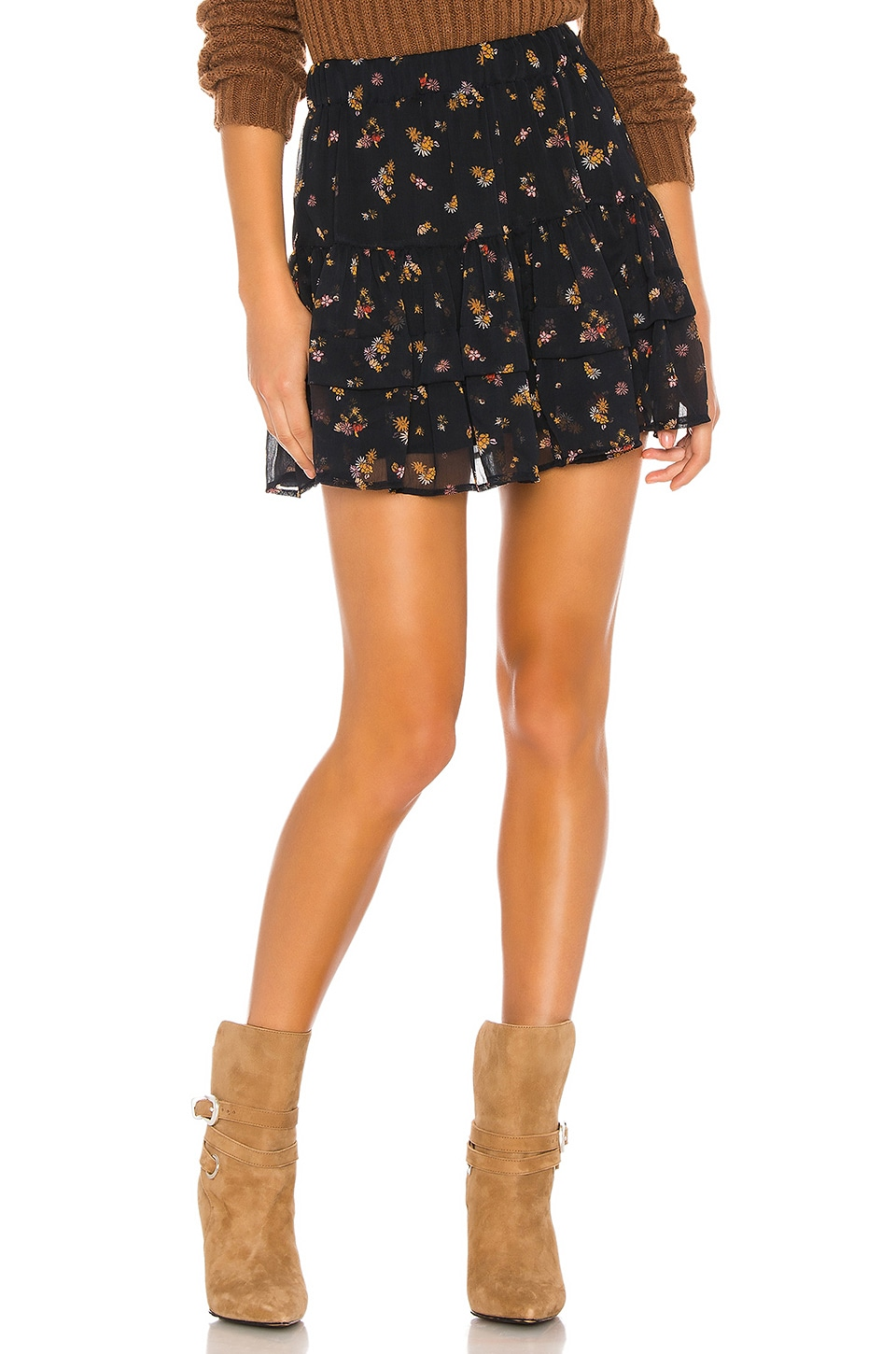 Free People From The Valley Mini Skirt in Black Combo