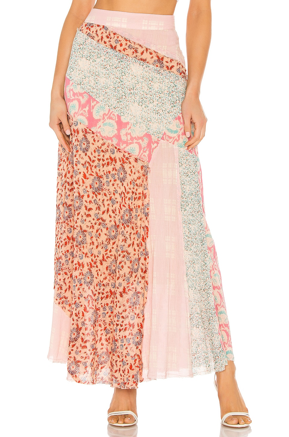 Free People Palma Patchwork Skirt in Peach