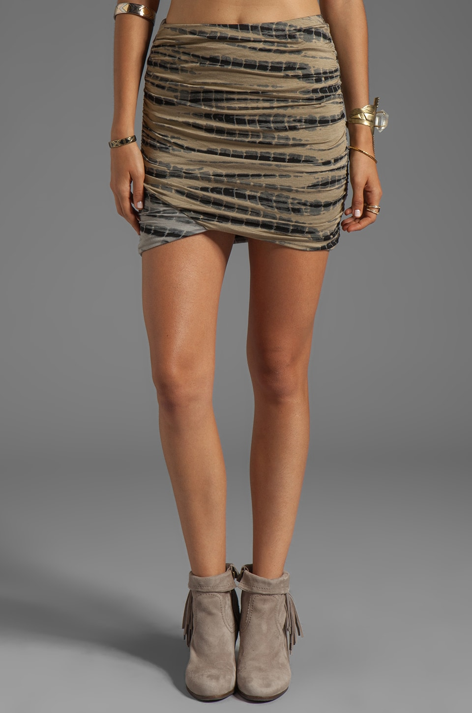 Free People Tie Dye Essential Scrunch Skirt in Military Combo