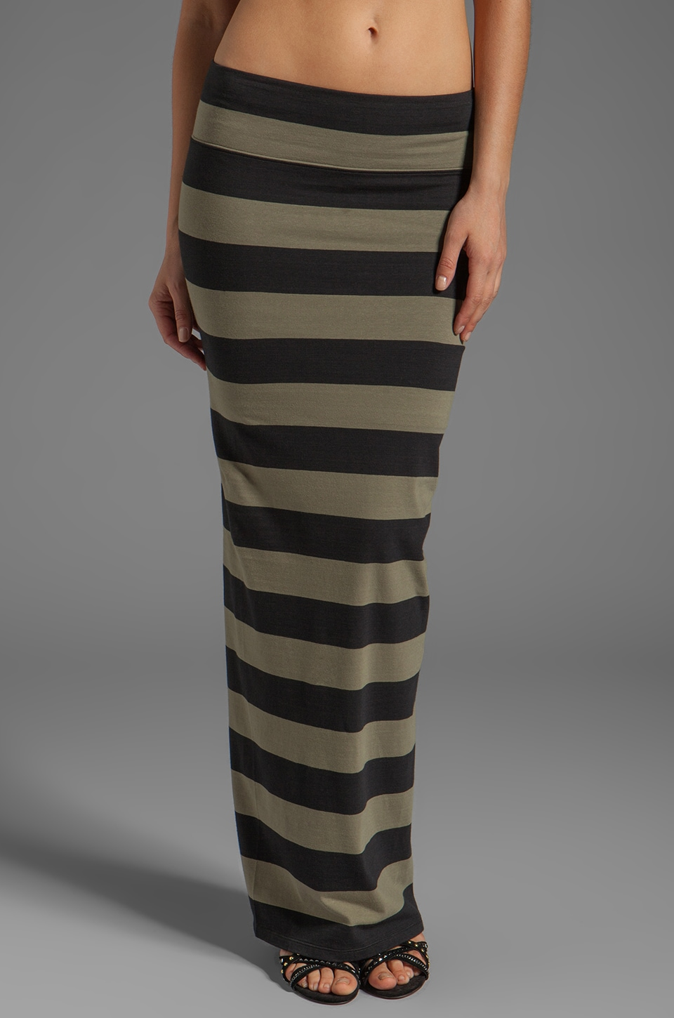 Free People Striped Column Maxi Skirt in Army/Washed Black Combo