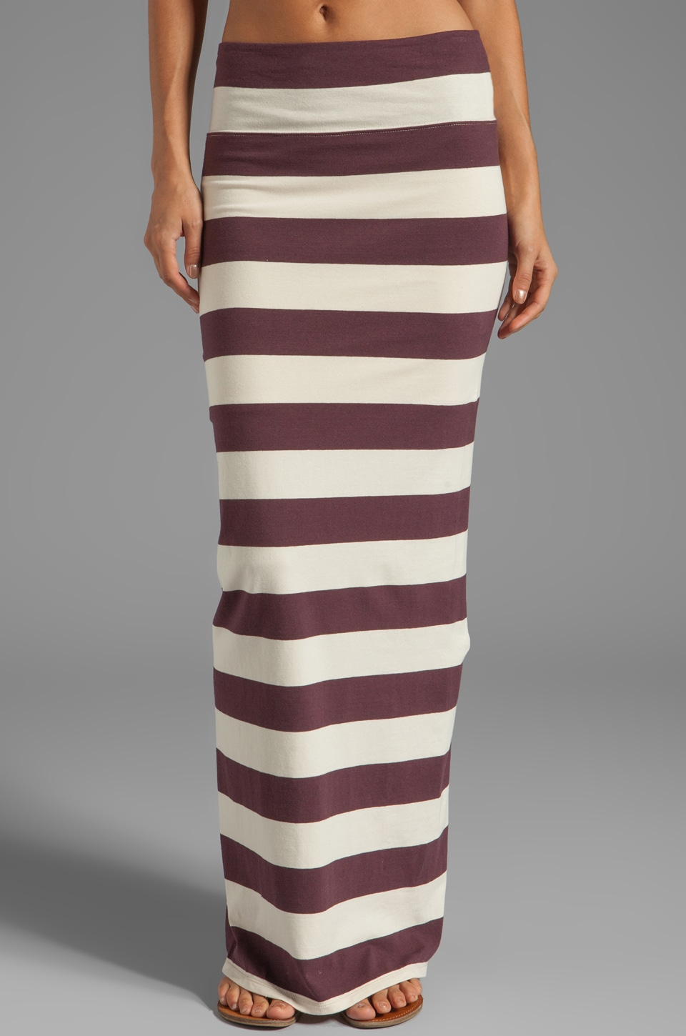 Free People Stripe Column Maxi Skirt in Aubergine/Oatmeal Combo