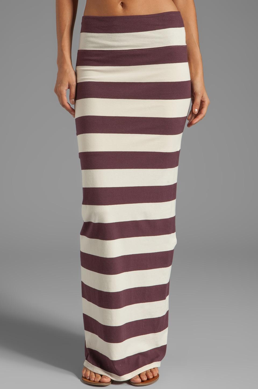 Free People Stripe Column Maxi Skirt in Aubergine/Oatmeal Combo