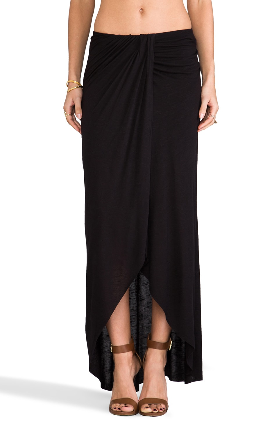 Free People Slubby Column Skirt in Black