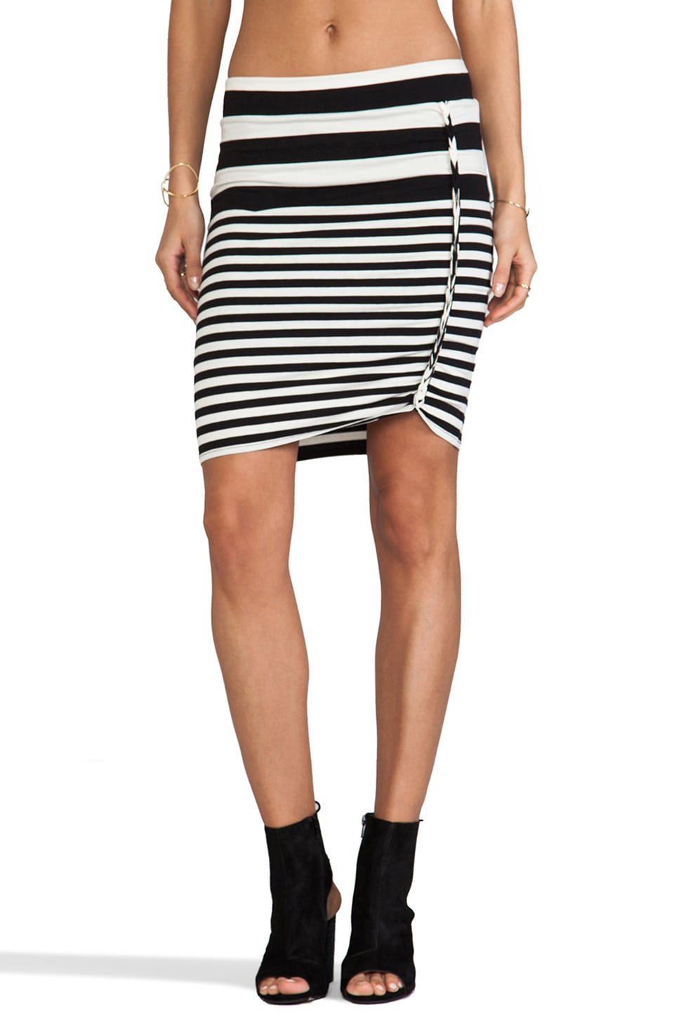 Free People Stripe Lots O Knots Skirt in Black Combo