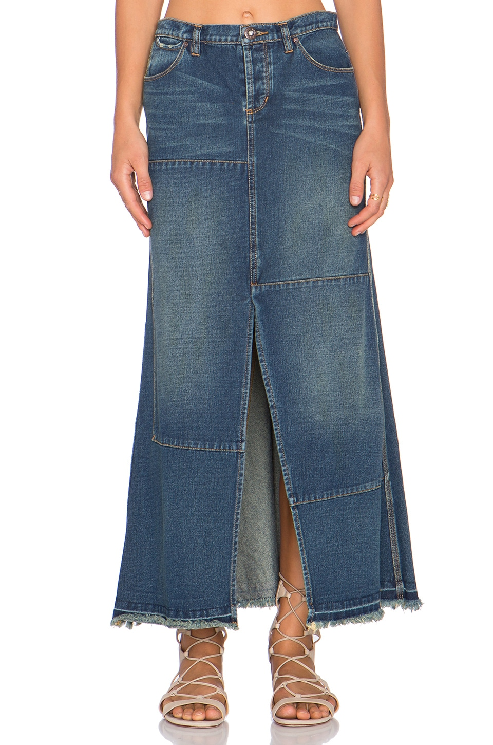 Free People Patchwork Maxi Skirt in Billie
