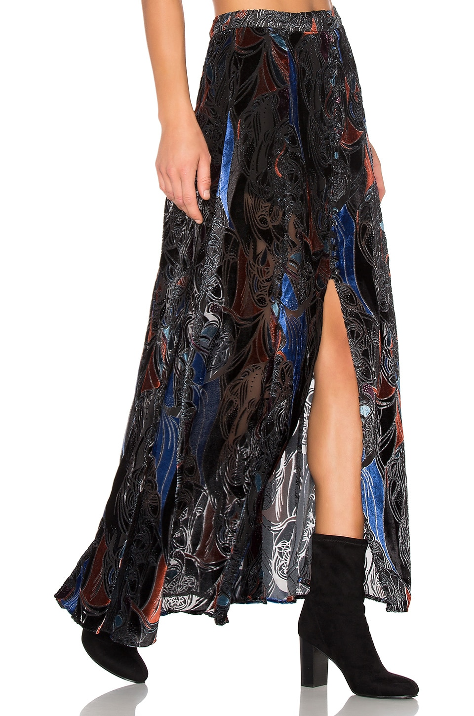 Free People Velvet Burnout Love So Right Skirt in Black Combo