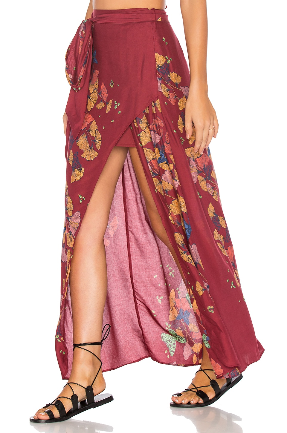 Free People Bri Bri Butterfly Maxi Skirt in Red Combo