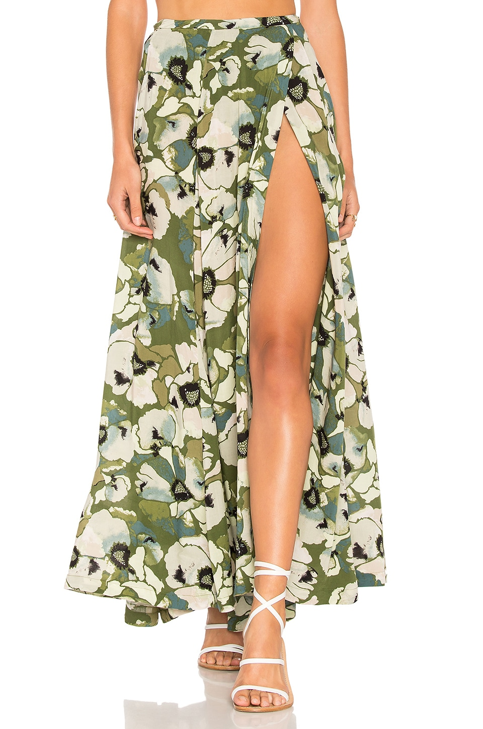 Free People Hot Tropics Maxi Skirt in Moss
