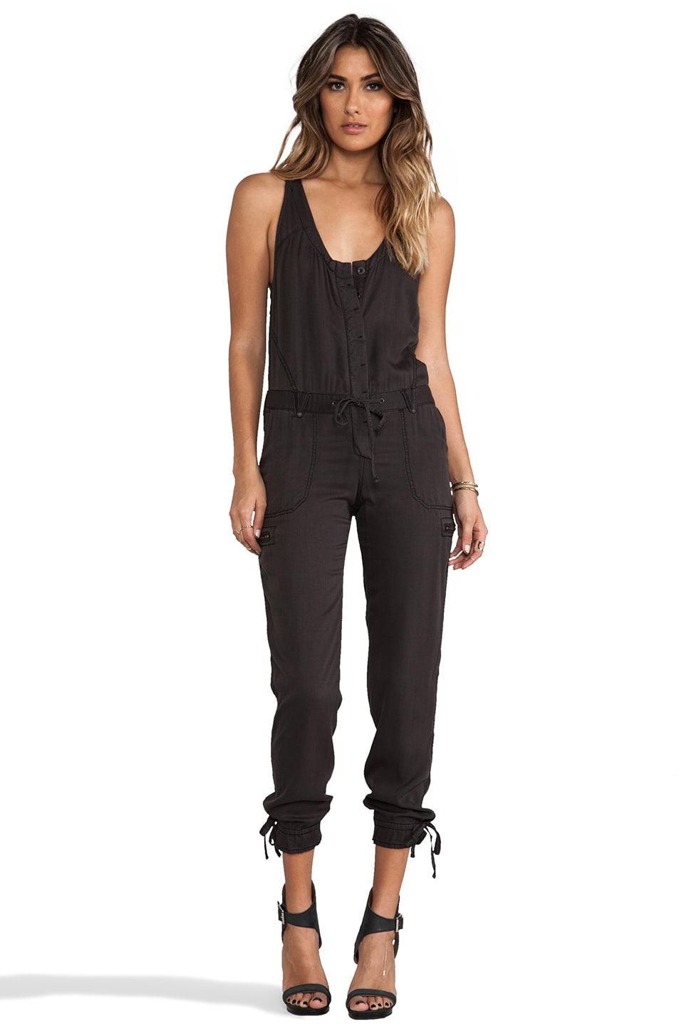 Free People Utilitarian Jumpsuit in Washed Black