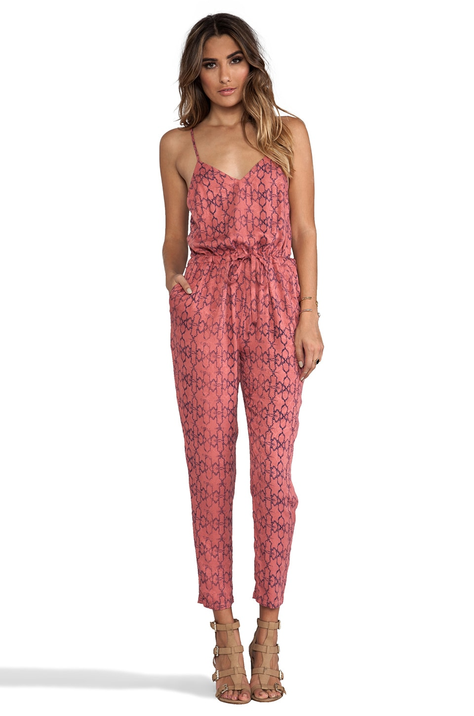 Free People Sunset Romper in Tomato Combo