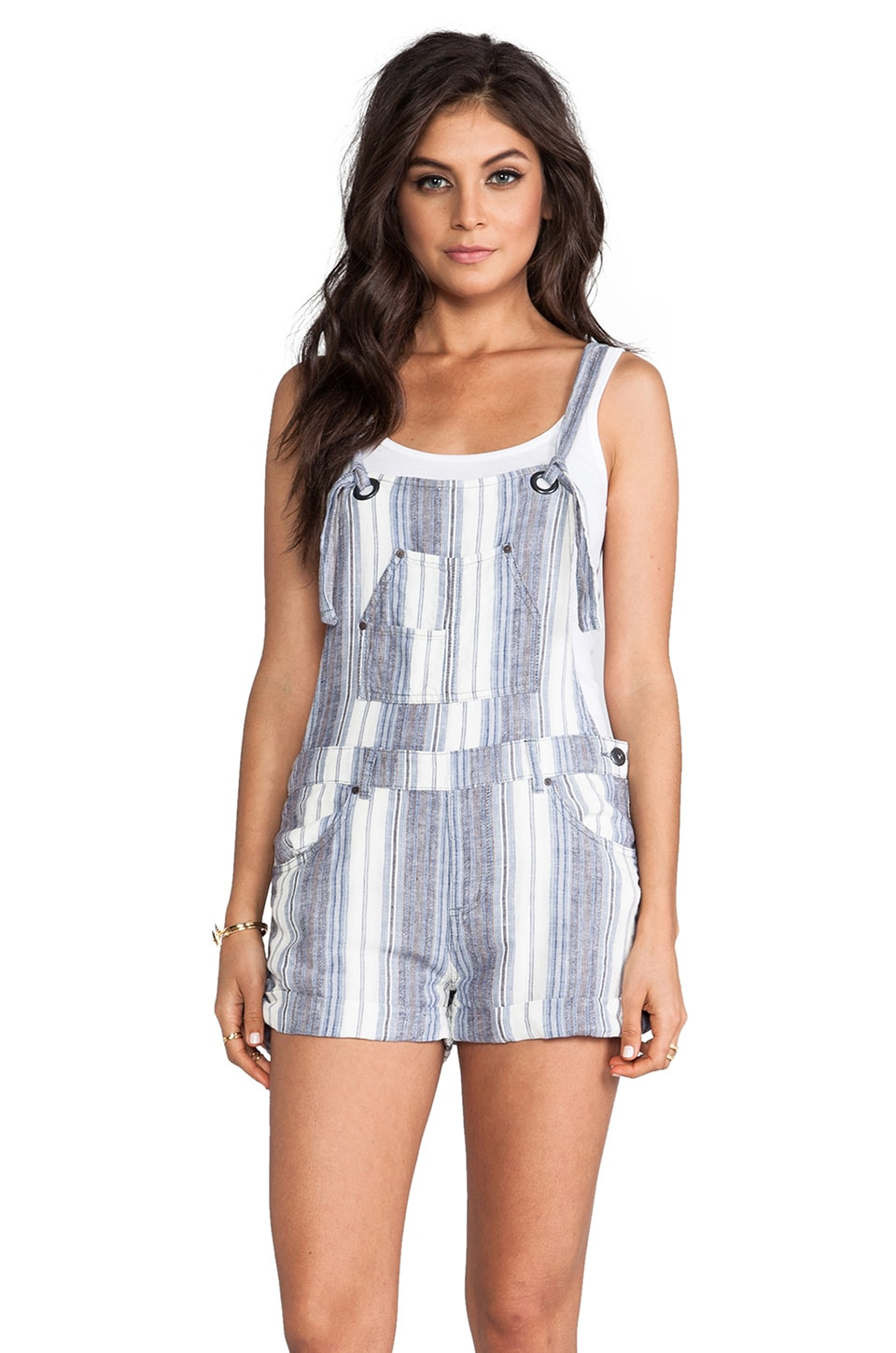 Free People Slouchy Linen Overalls in Chambray Combo