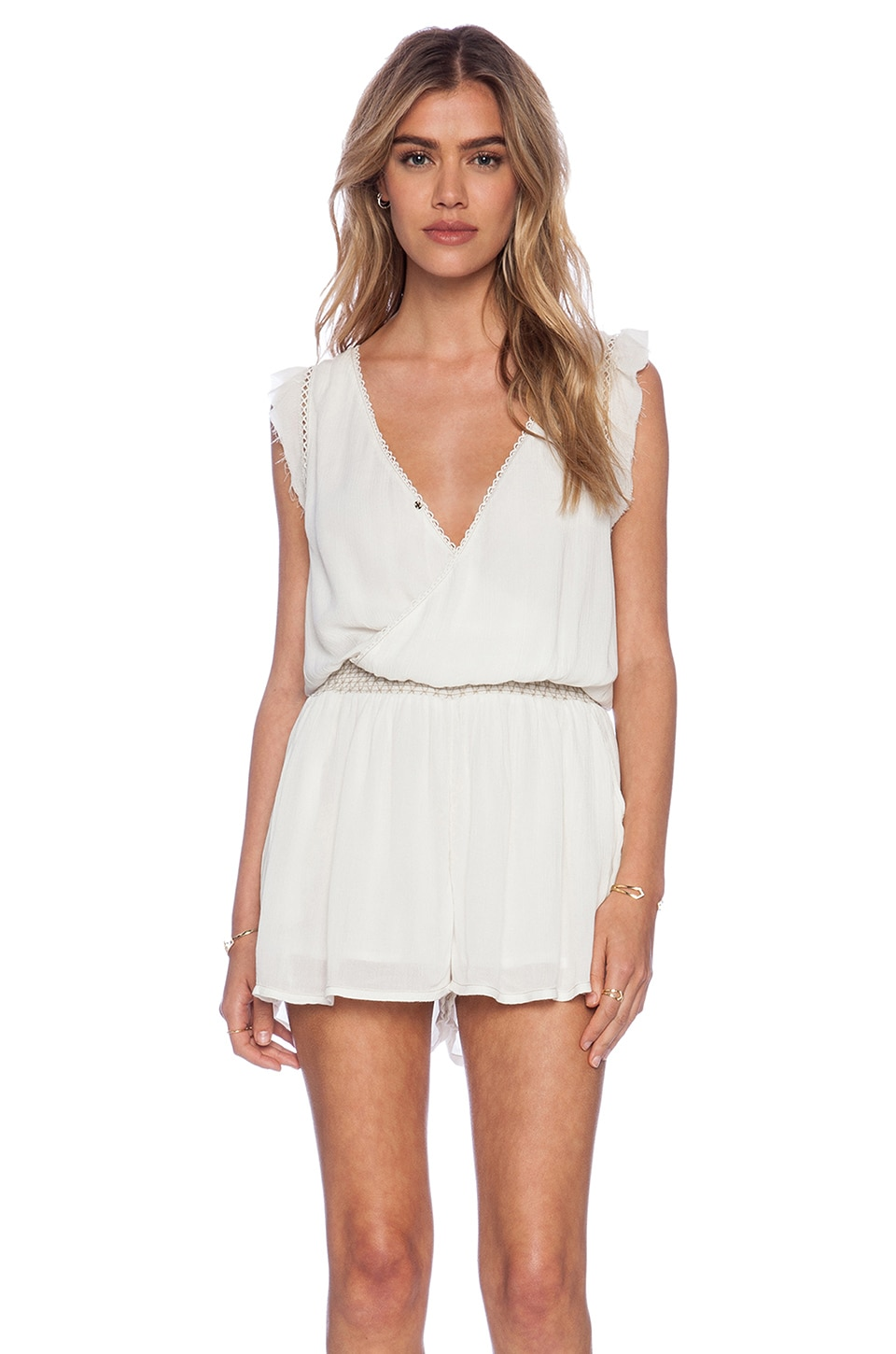 Free People Surplice Romper in Parchment