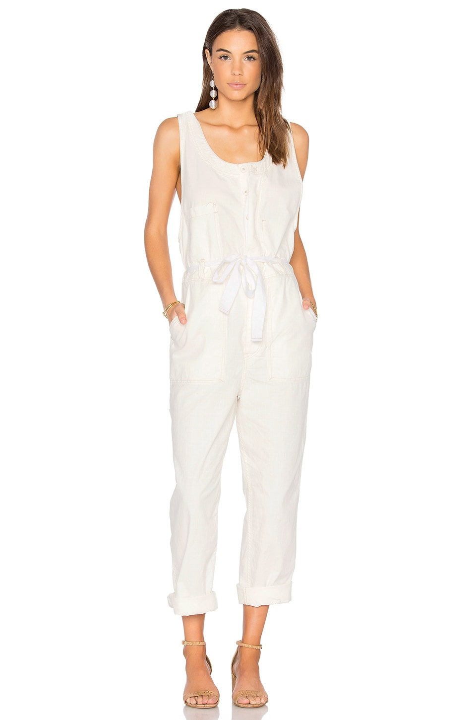 Free People Work It Jumpsuit in Ivory
