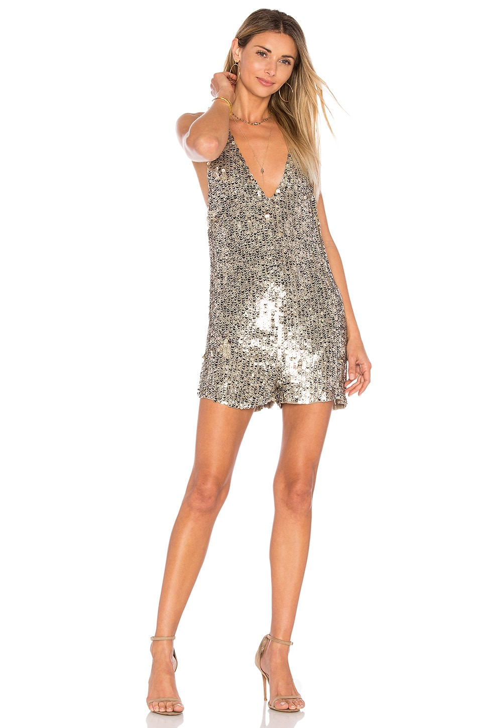 Free People Fools Gold Sequin Romper In Gold Revolve