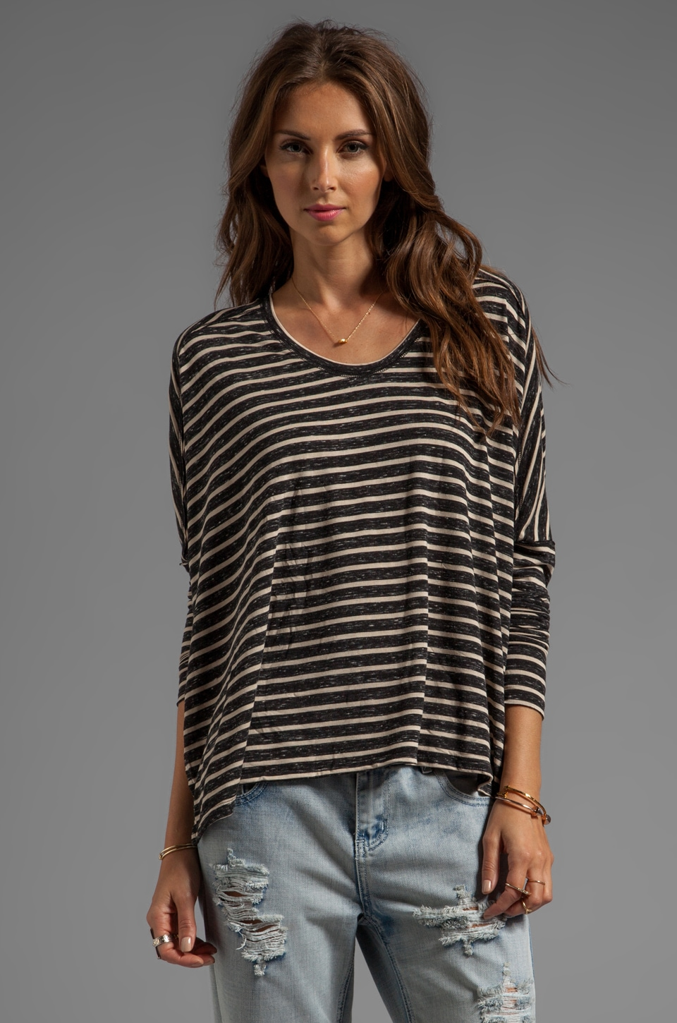Free People Pandora's Striped Boxy Tee in Black