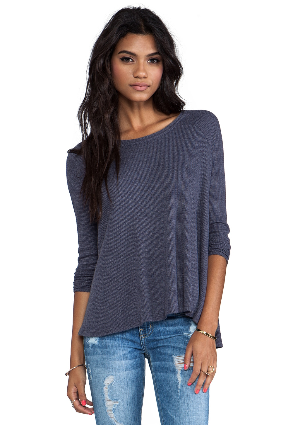 Free People Rockabilly Raglan Thermal in Midnight Tide