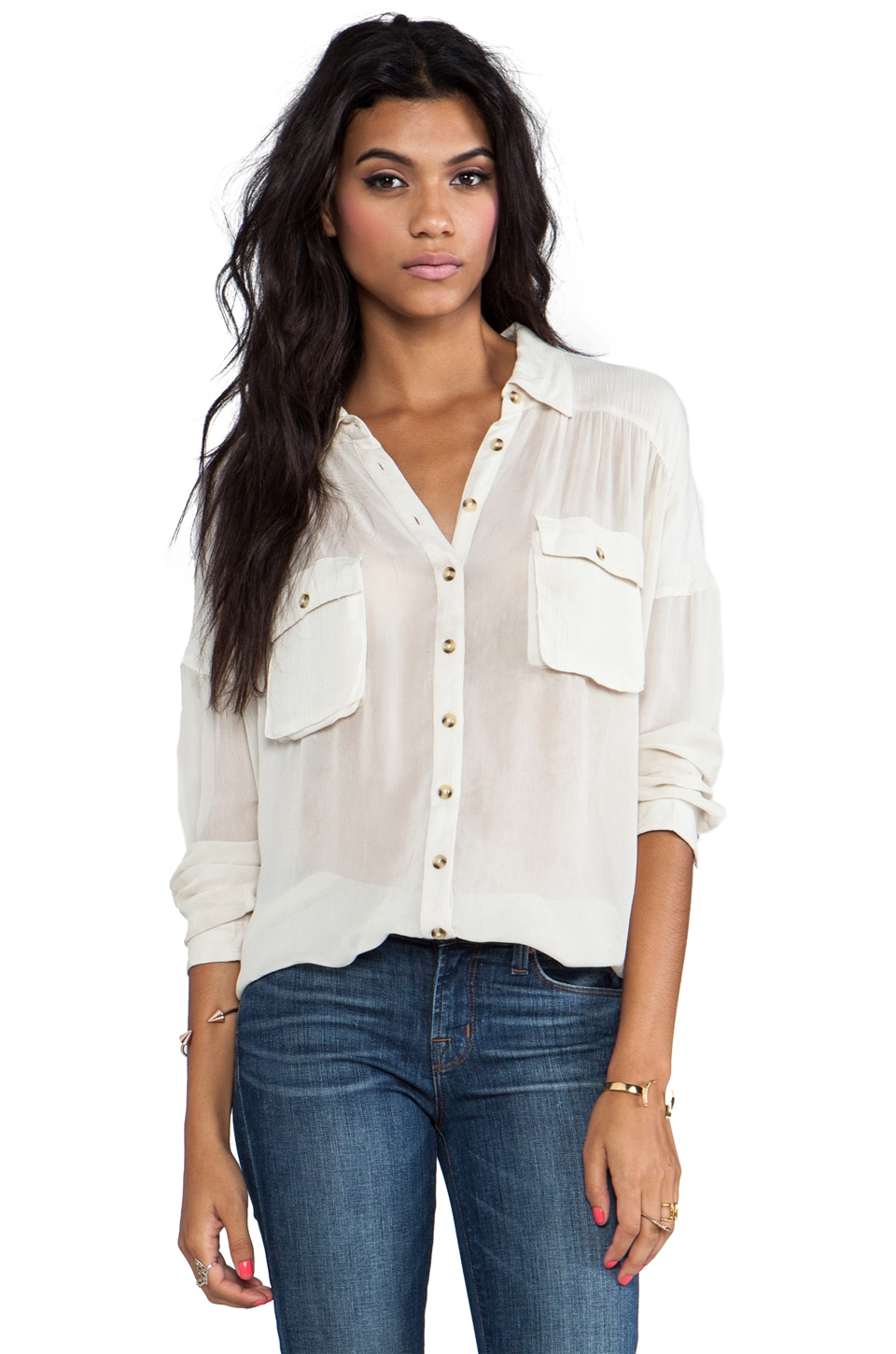 Free People Hard Day's Nigh Top in Vanilla
